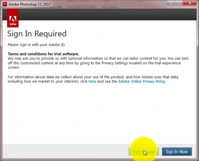 Hộp thoại yêu cầu đăng ký tài khoản Adobe Photoshop CC hiện ra