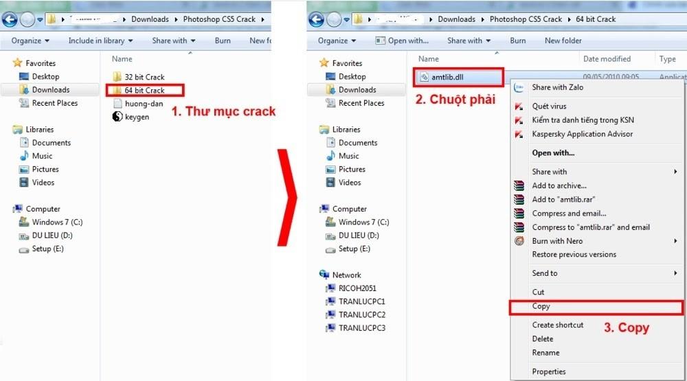 """Copy file """"amtlib.dll"""" trong thư mục Crack ở máy tính 64bit"""