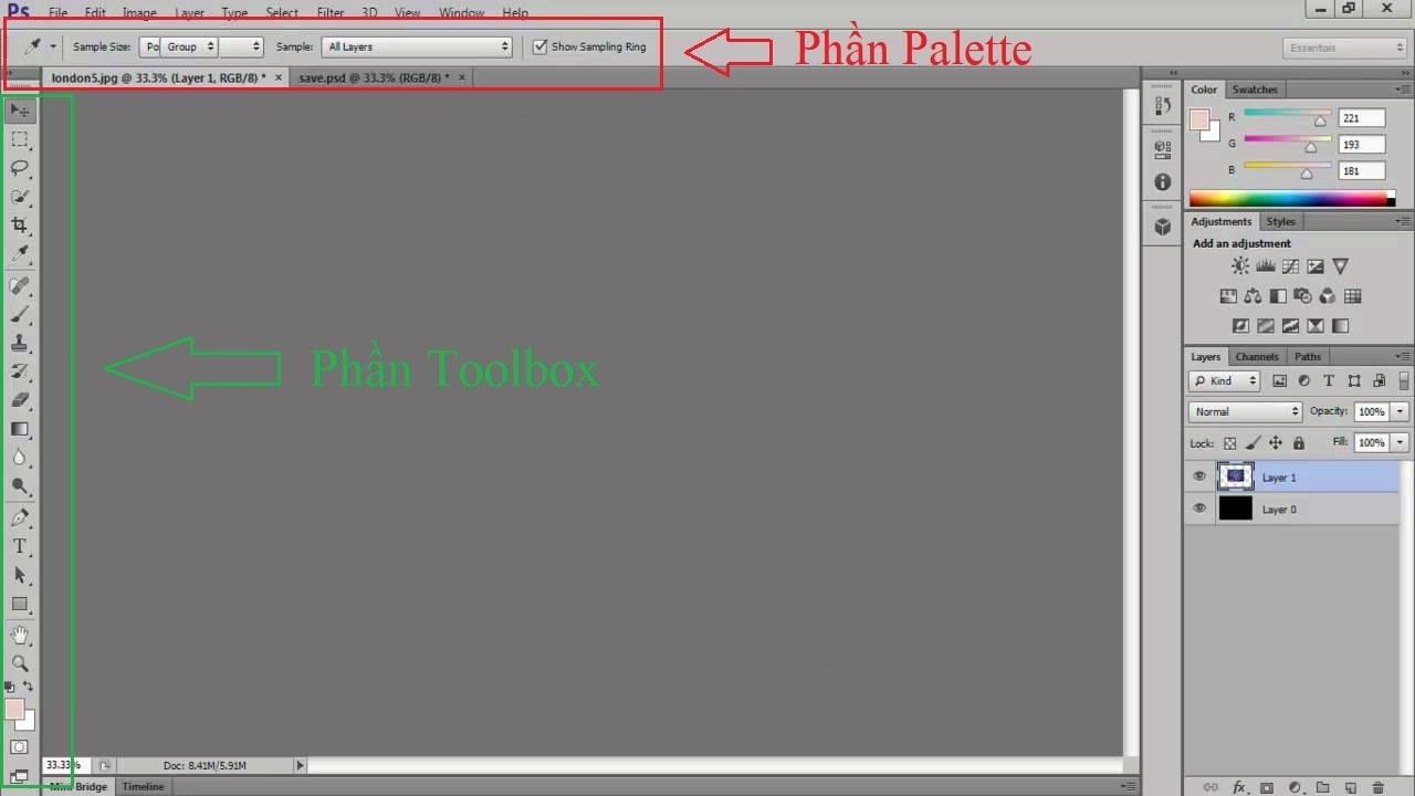 Tùy chỉnh Toolbox và tùy chọn Palette trong Photoshop CS5