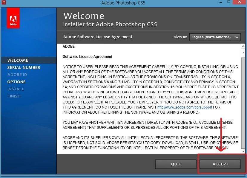 """Chọn """"Accept"""" để chấp nhận các điều khoản của nhà cung cấp"""