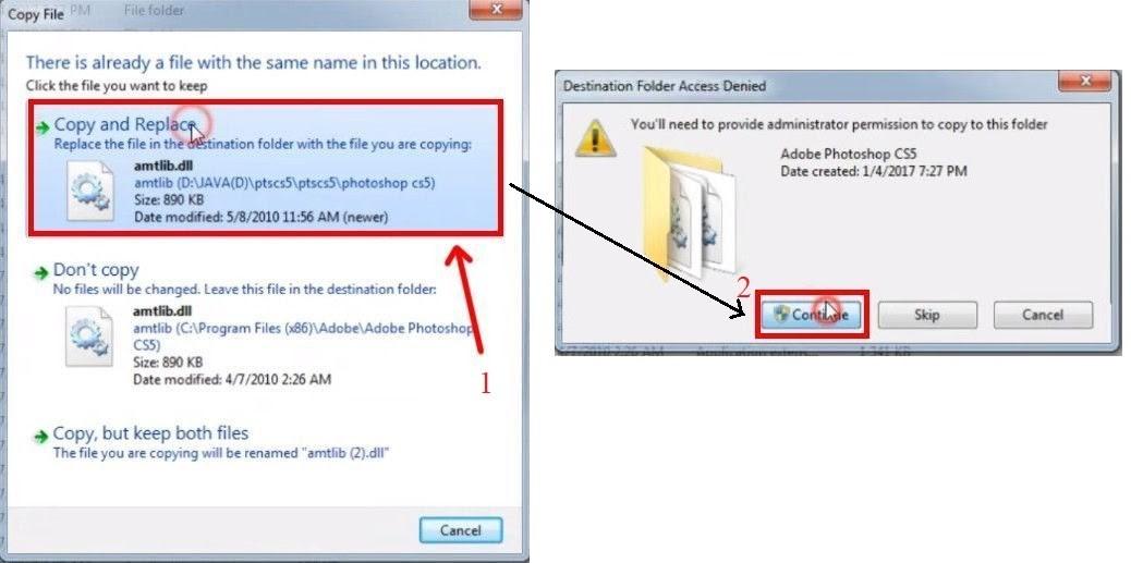 """Chọn vào """"Copy and Replace"""" rồi nhấn """"Continue"""" để tiếp tục cài đặt"""