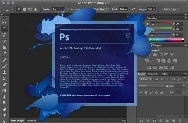 Giao diện làm việc của Photoshop bản CS6