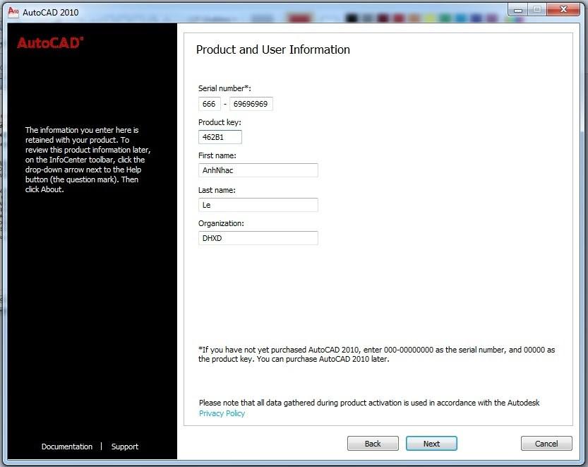 Giao diện cài đặt phần mềm Autocad 2010