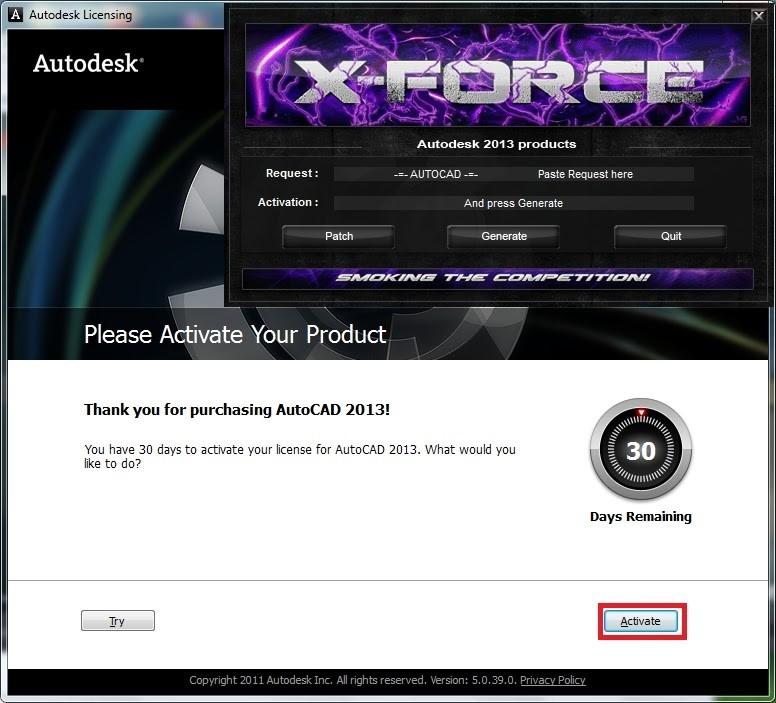 Chọn Active để tiếp tục cài đặt phiên bản full crack Autocad 2013 hoàn toàn miễn phí