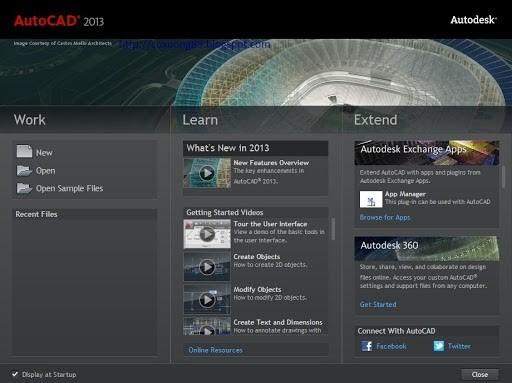 Các mục chính của Autocad phiên bản 2013 gồm 3 mục chính